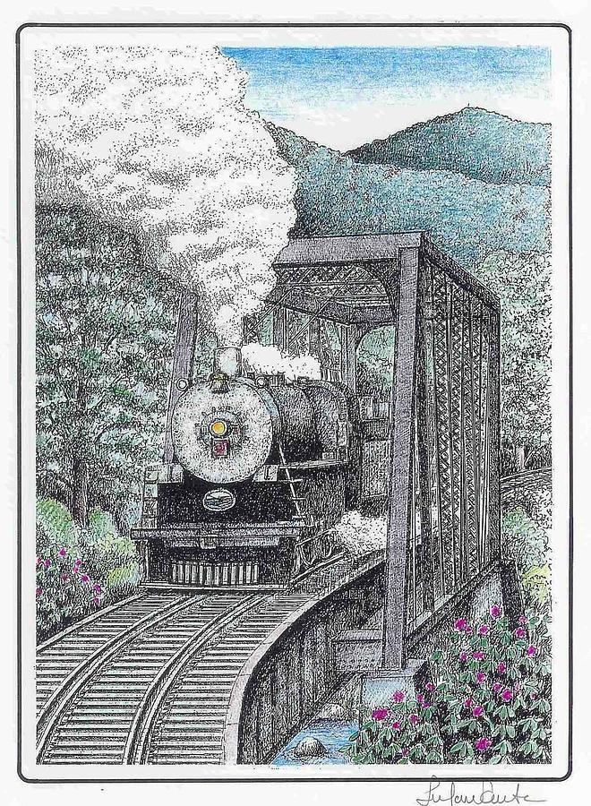 Train Drawing - Baldwin 1702 Steam Locomotive by Lee Pantas
