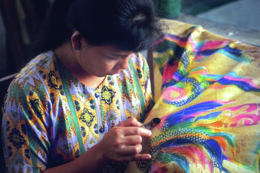 Bali Batik  Worker by Jerry Griffin