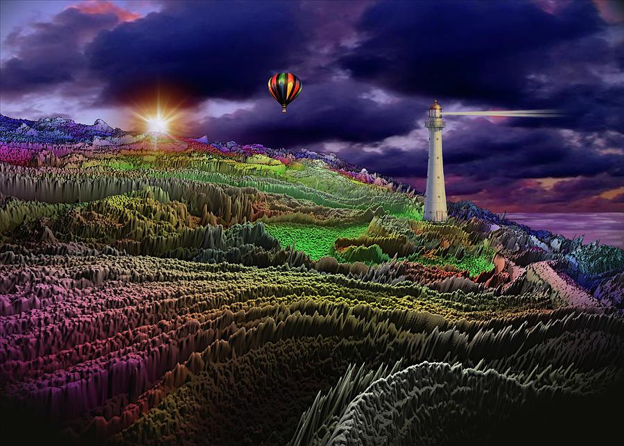 Balloon Adventrue Over Rolling Hills Digital Art
