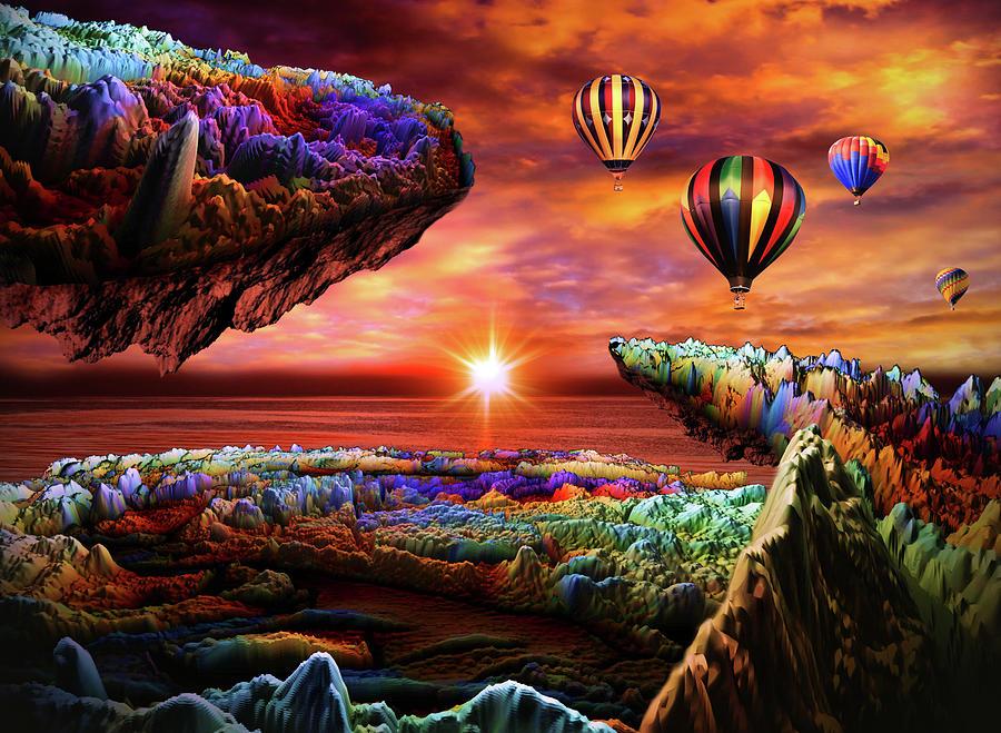 Balloon Adventure Over Paradise Digital Art