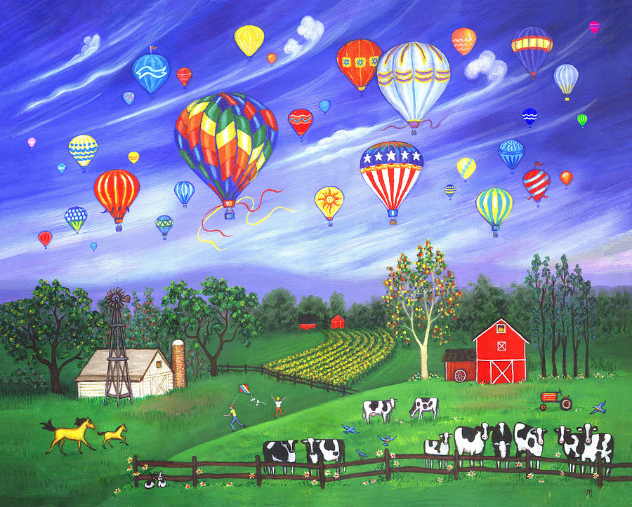 Landscape Painting - Balloon Race One by Linda Mears