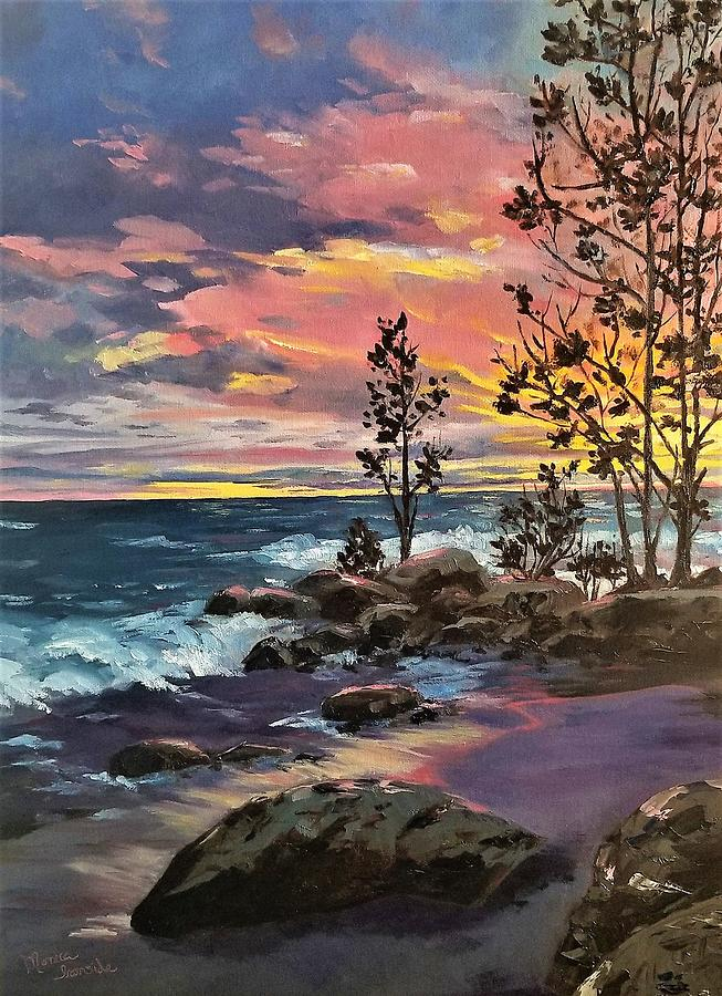Impressionist Painting - Balm Beach Sunset by Monica Ironside