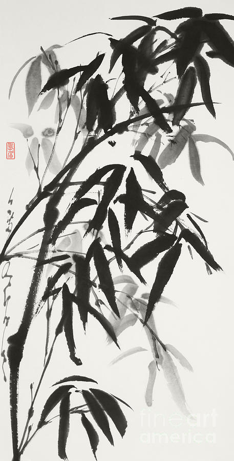 Bamboo Painting - Bamboo after the Rain, A Refreshing Presence by Nadja Van Ghelue