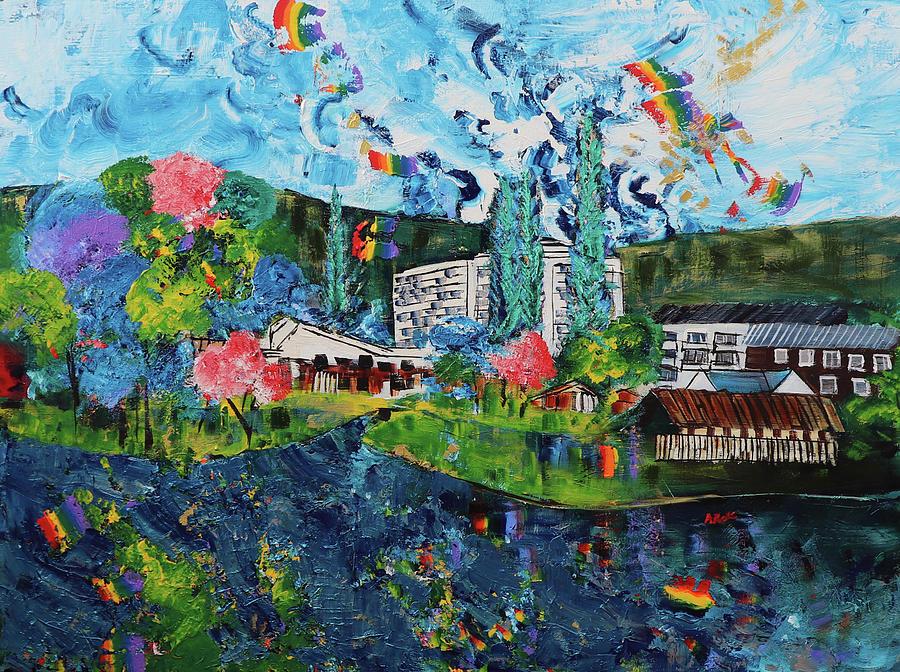 Colorful Painting - Banja Luka Vrbas River 202027 by Alyse Radenovic