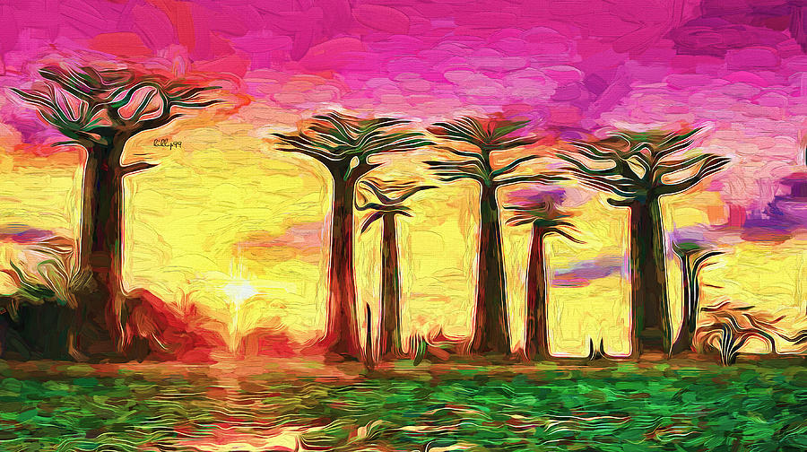 Baobab Sunset Painting
