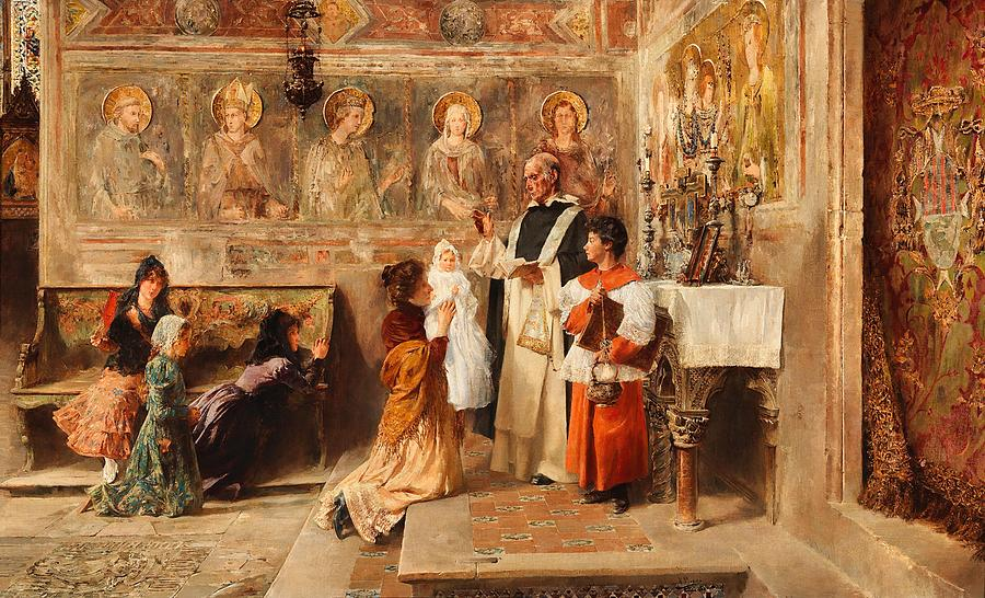 Baptism Painting - Baptism In Assisi by Vincente Poveda