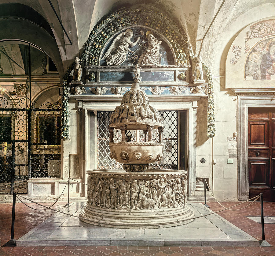 Baptismal Font Basilica Of San Frediano Lucca Italy Photograph