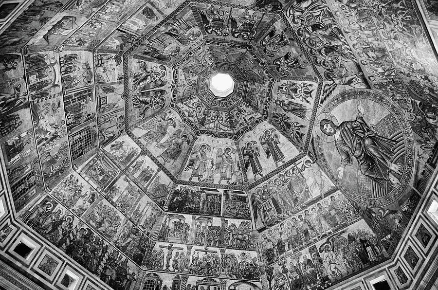 Baptistry Interior Dome Tile Mosaics and Oculus Florence Italy Black and White by Shawn O'Brien