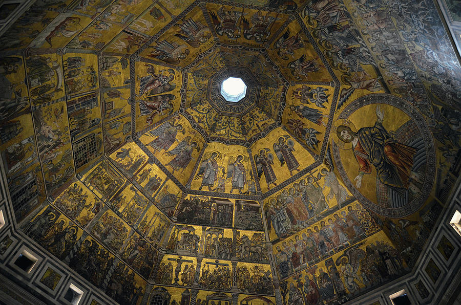 Baptistry Interior Dome Tile Mosaics and Oculus Florence Italy by Shawn O'Brien