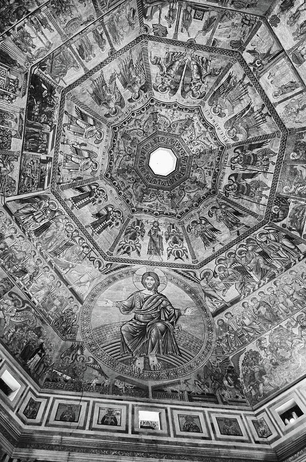 Baptistry Interior Dome Tile Mosaics and Oculus in Florence Italy Black and White by Shawn O'Brien
