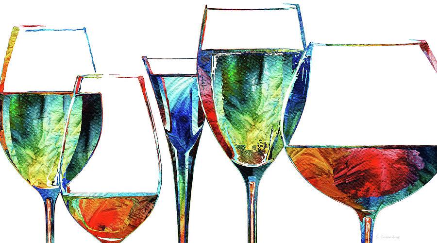 Wine Painting - Bar Friends - Wine Glass Art - Sharon Cummings by Sharon Cummings