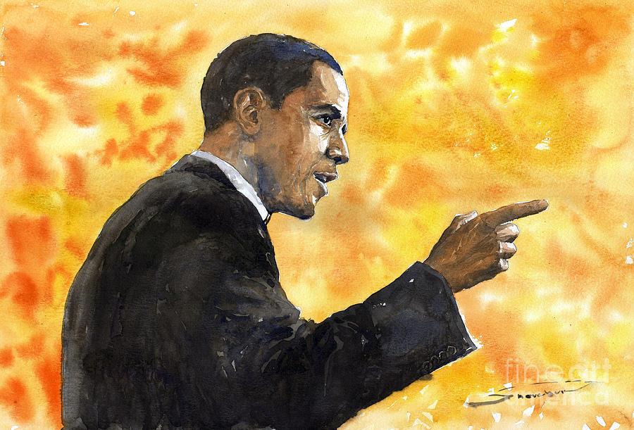 Watercolour Painting - Barack Obama 02 by Yuriy Shevchuk