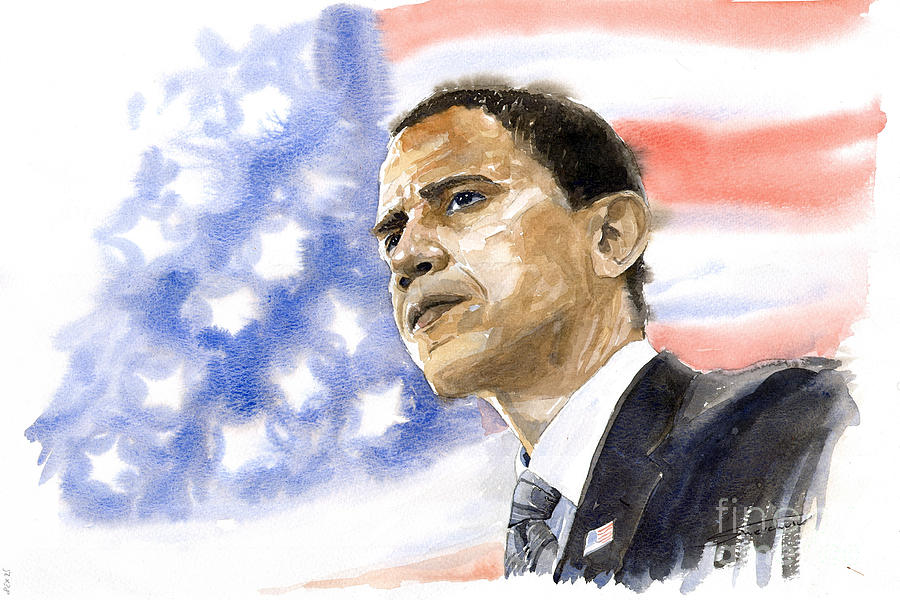 Watercolour Painting - Barack Obama 03 by Yuriy Shevchuk
