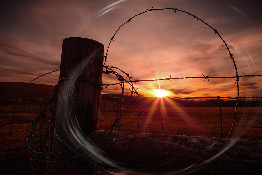 Sunset Photograph - Barbed Sunset by Jim Love