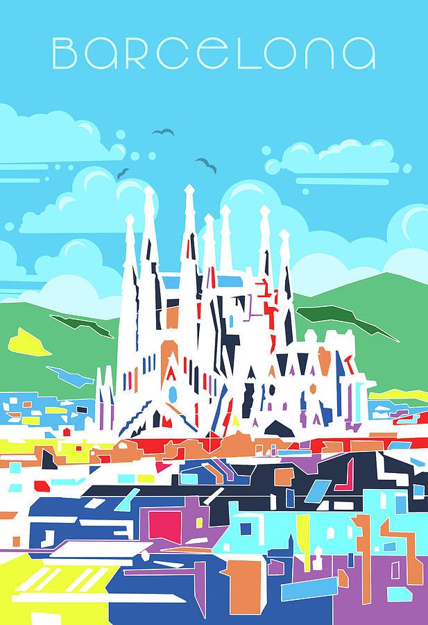Barcelona City Modern Digital Art