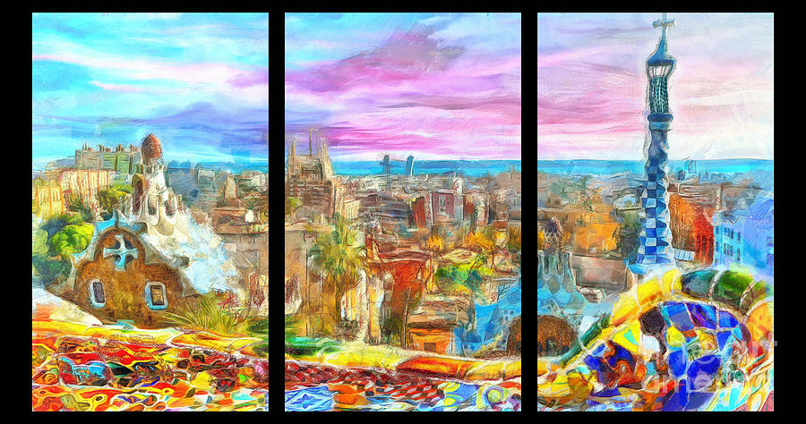 Triptych Painting - Barcelona From Park Guell Triptych by Stefano Senise