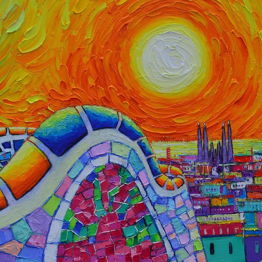 BARCELONA PARK GUELL SUNRISE OVER SAGRADA FAMILIA abstract impasto knife painting Ana Maria Edulescu by ANA MARIA EDULESCU