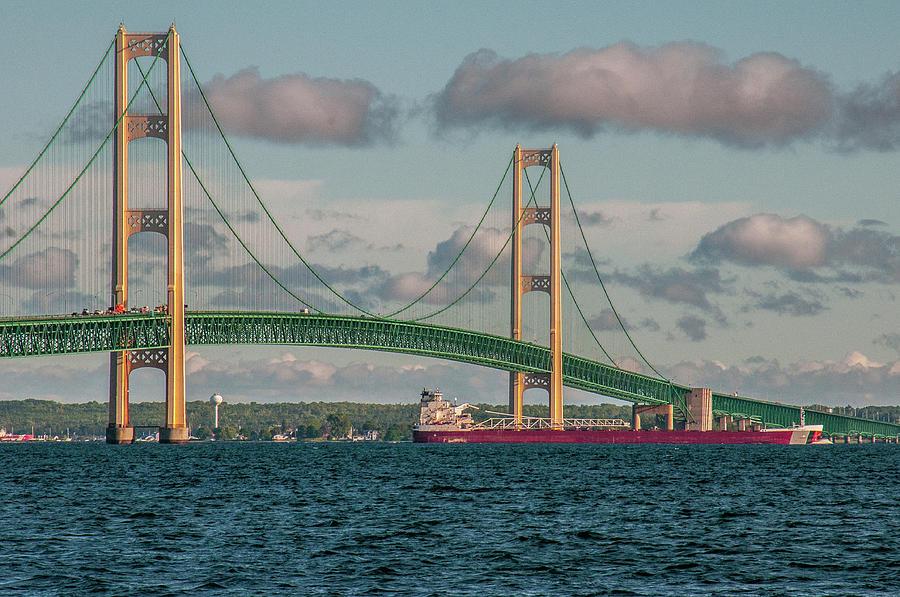 Barge Passing Under the Mackinac Bridge by Matthew Irvin