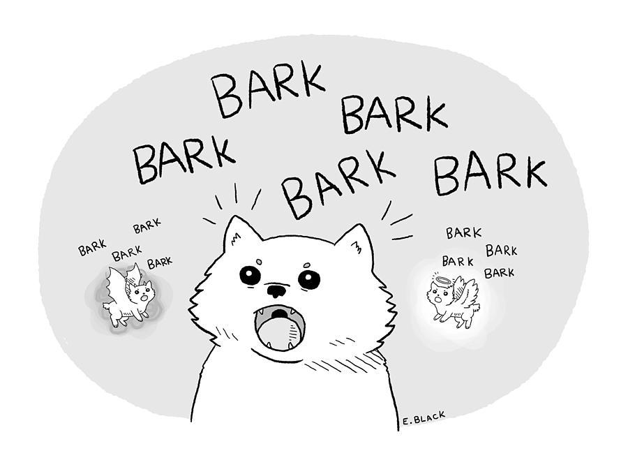 Barking Dog Drawing by Ellie Black