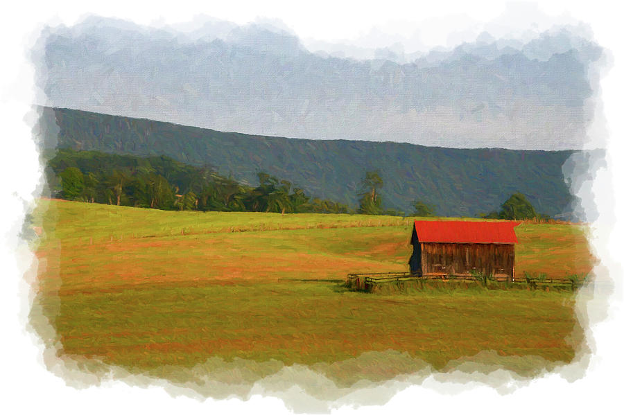 Barn in country on rolling hill      paintography by Dan Friend