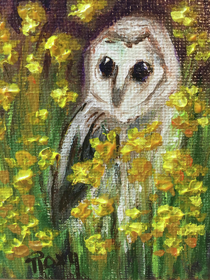 Barn Owl In Yellow Flowers Painting