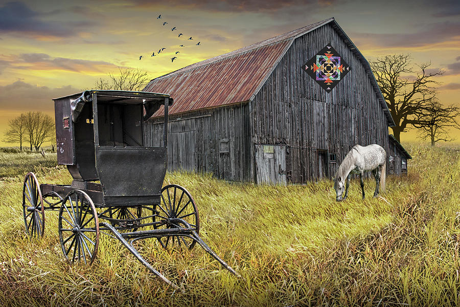 Barn Quilt With Amish Buggy And Horse On Amish Farm At Sunset Photograph