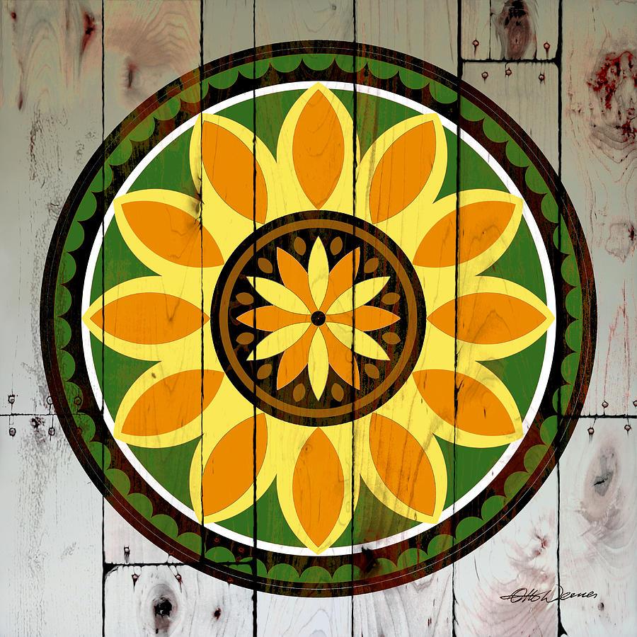 Barn Wood Sunflower Hex Painting