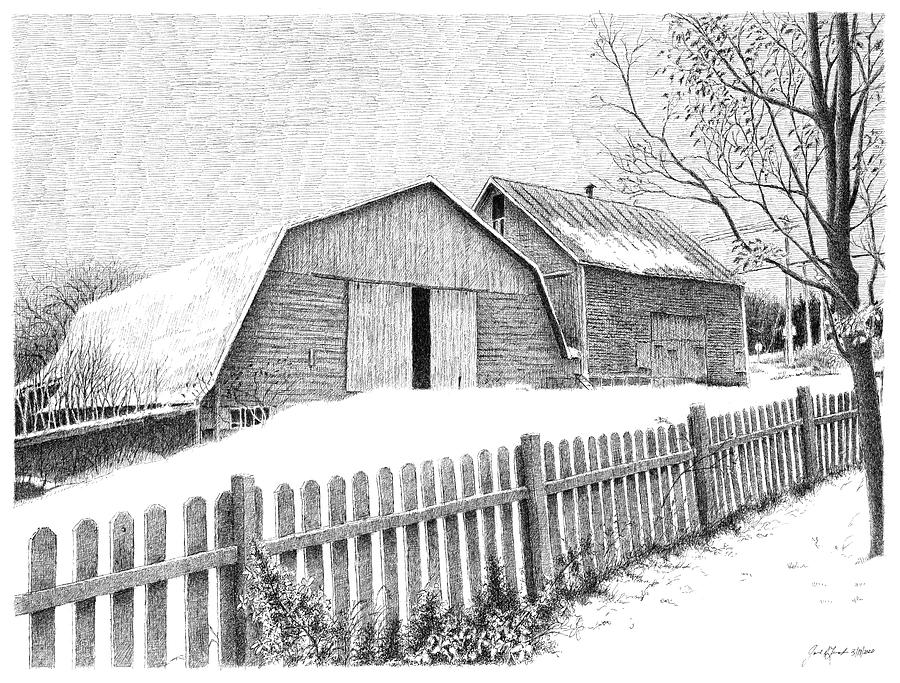 Barns In Canada Drawing By Joel Lueck