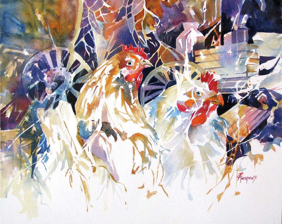 Watercolor Painting - Barnyard Hide and Seek by Rae Andrews