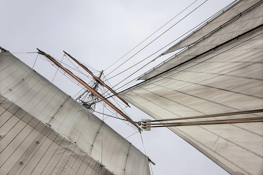 Barque Topgallant Yards And Jibs Photograph