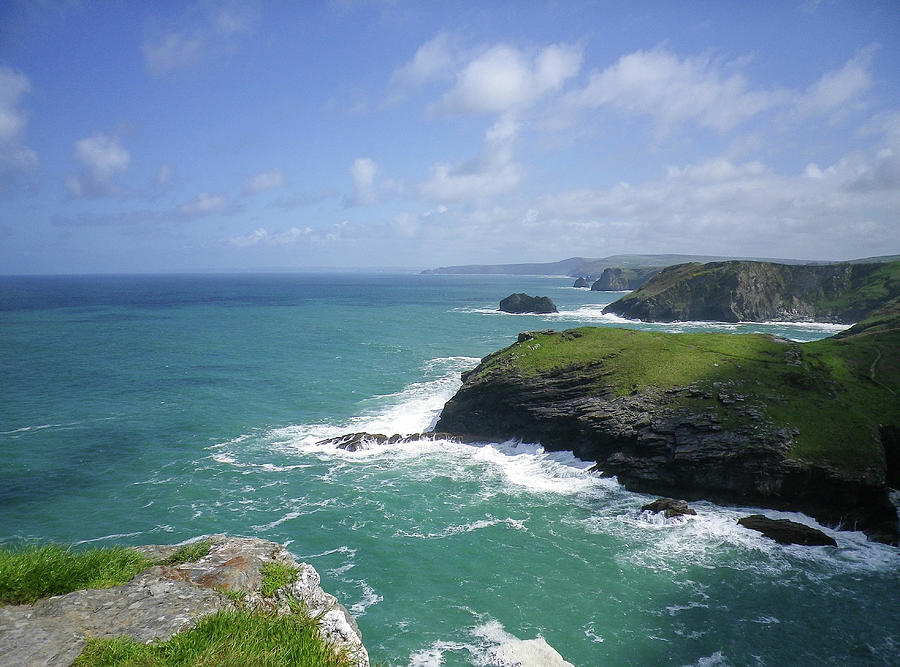 Barras Nose To Cambeak From Tintagel Cornwall Photograph