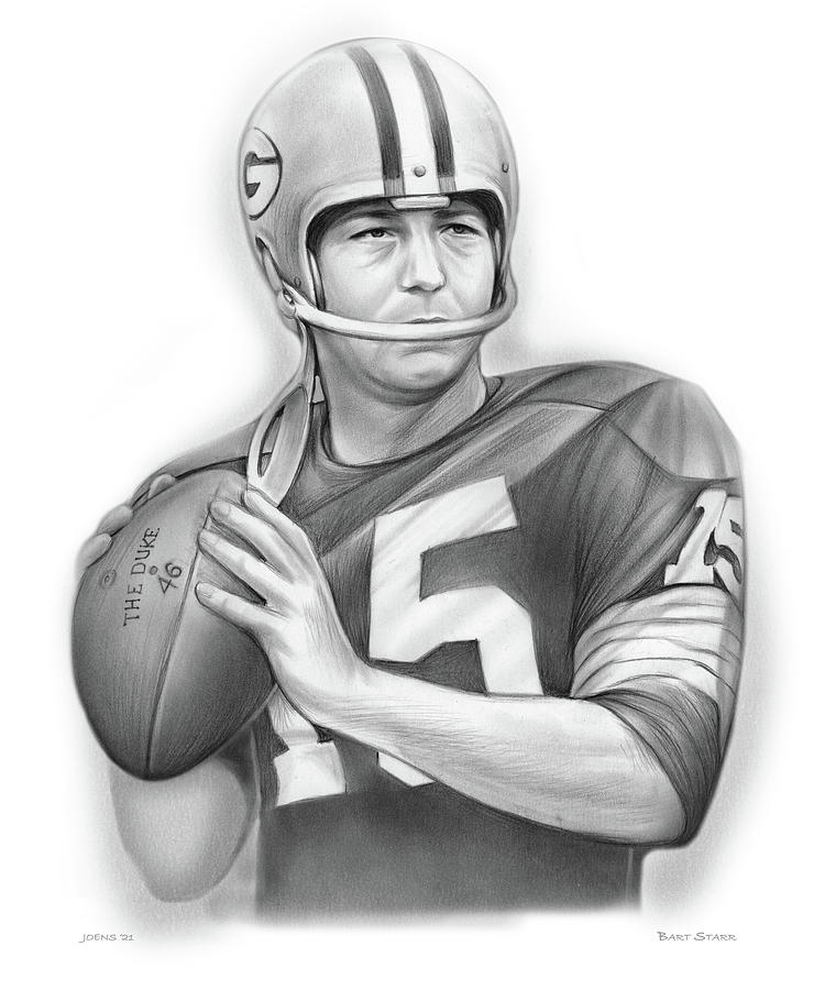 Bart Starr Drawing - Bart Starr 2 by Greg Joens