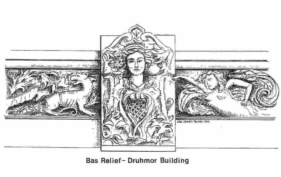 Bas Relief Drawing - Bas Relief -Druhmor Building by Lee Pantas