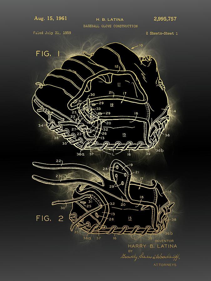 Baseball Glove Construction Patent Digital Art