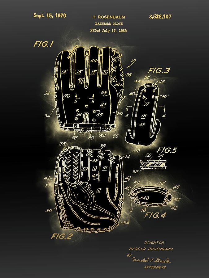 Baseball Glove Patent Black Gold Digital Art