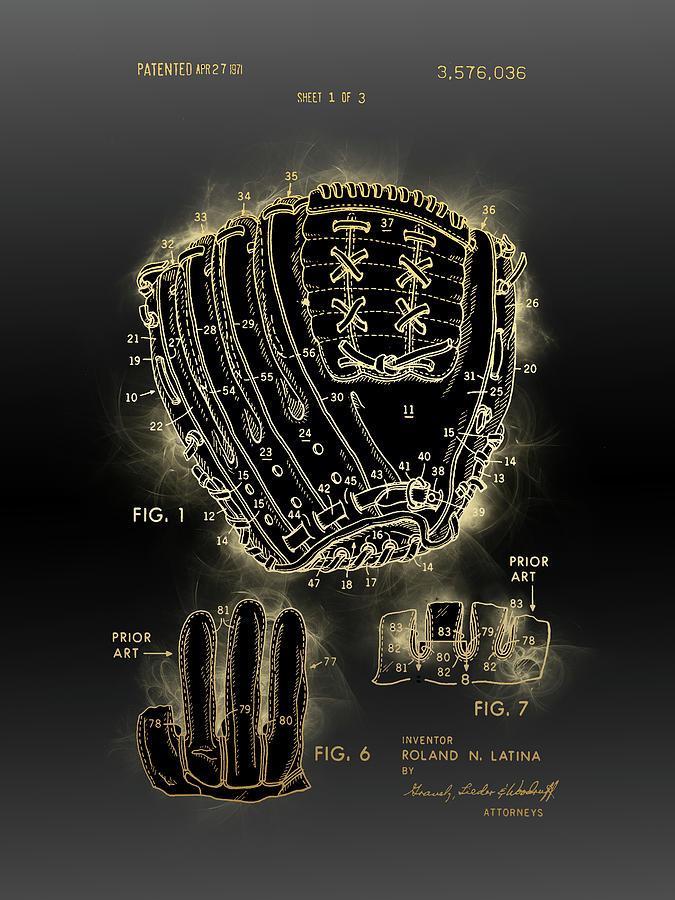 Baseball Glove Vintage Patent Digital Art
