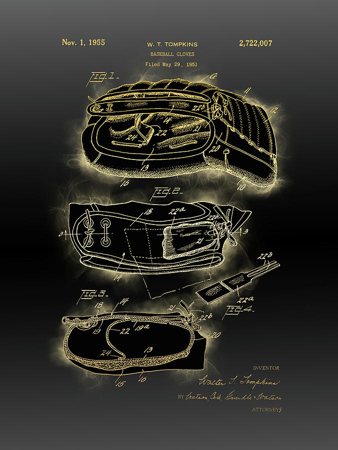 Baseball Gloves Patent Black Gold Digital Art