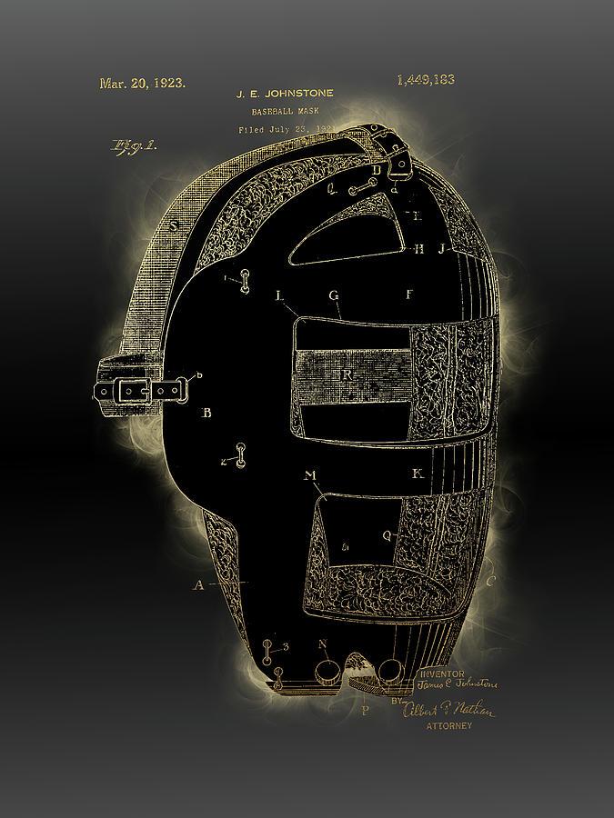 Baseball Mask Patent Black Gold 2 Digital Art