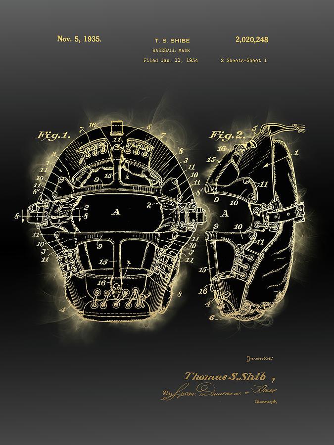 Baseball Mask Patent Black Gold 3 Digital Art