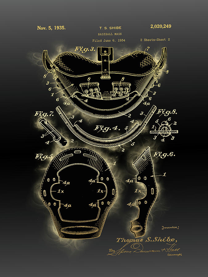 Baseball Mask Patent Black Gold 4 Digital Art