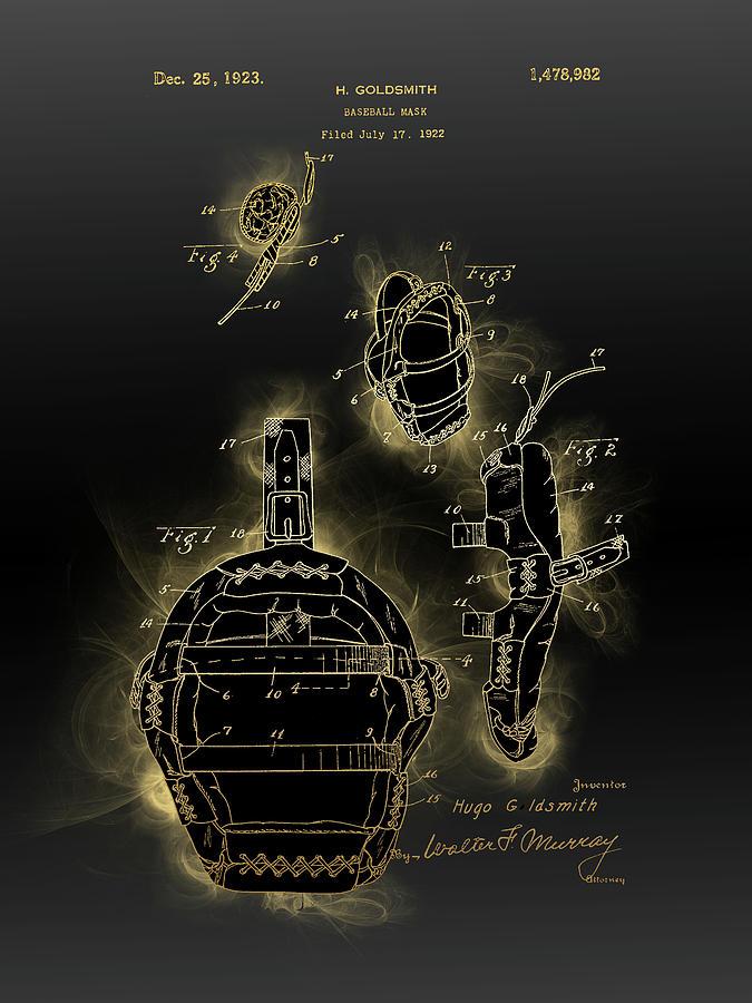 Baseball Mask Patent Black Gold Digital Art