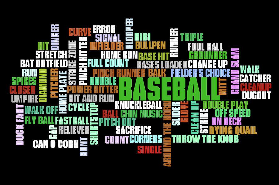Baseball Terms Typography Digital Art