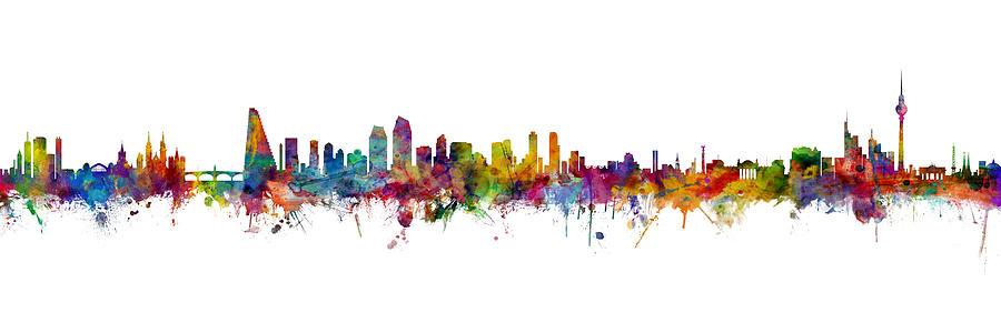 Berlin Digital Art - Basel, San Jose and Berlin Skyline Mashup by Michael Tompsett