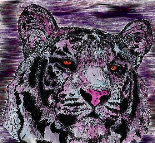 Tiger Digital Art - Bashful Reloaded by Crystal Hubbard