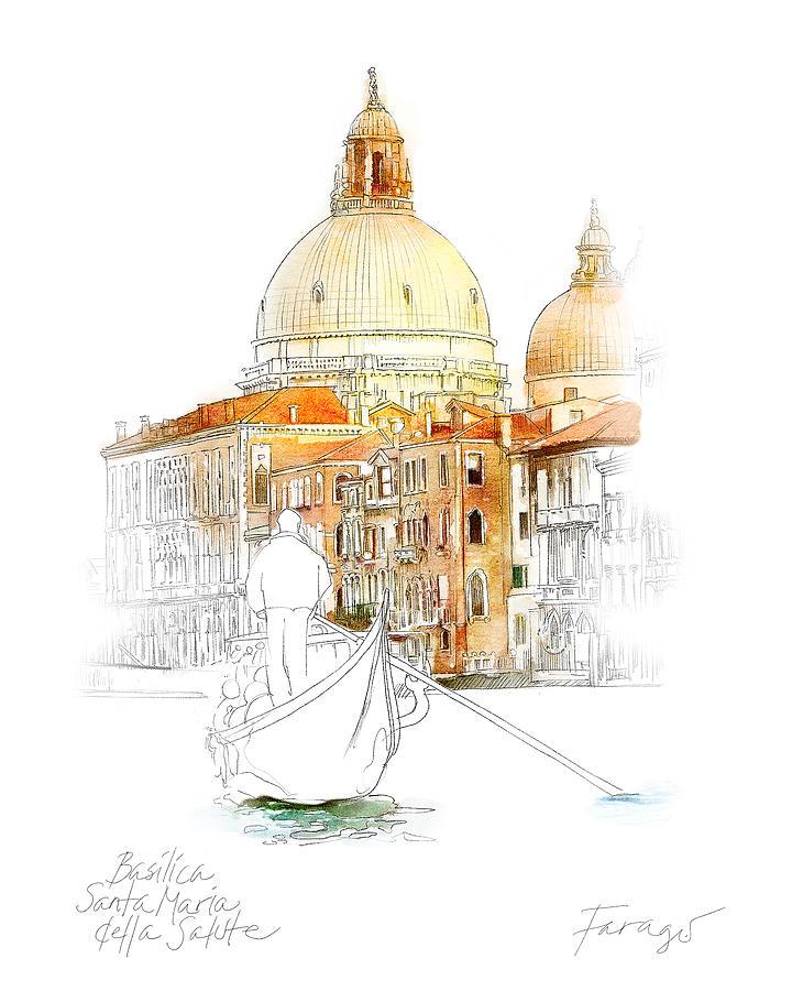 Basilica Drawing - Basilica di Santa Maria by Peter Farago