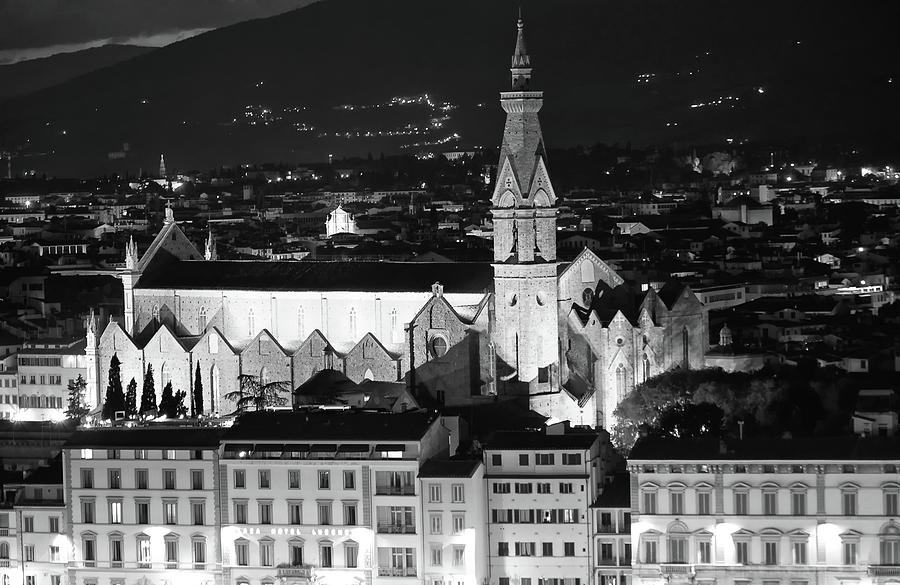 Basilica of Santa Croce at Night in Florence Italy Black and White by Shawn O'Brien