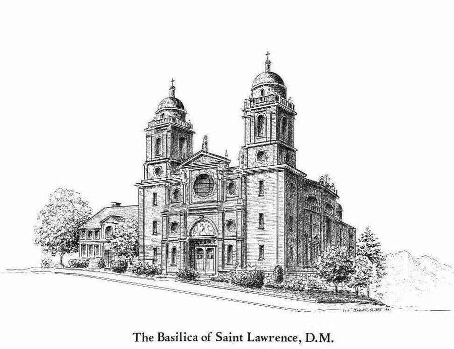 Church Drawing - Basilica of St. Lawrence Church by Lee Pantas