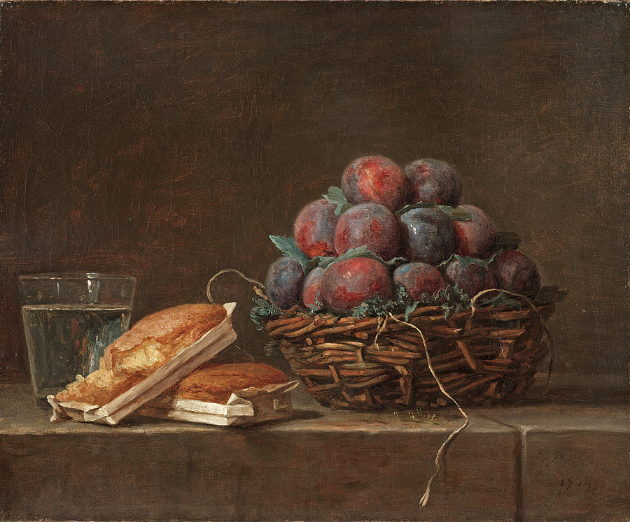 Basket of Plums by Anne Vallayer-Coster