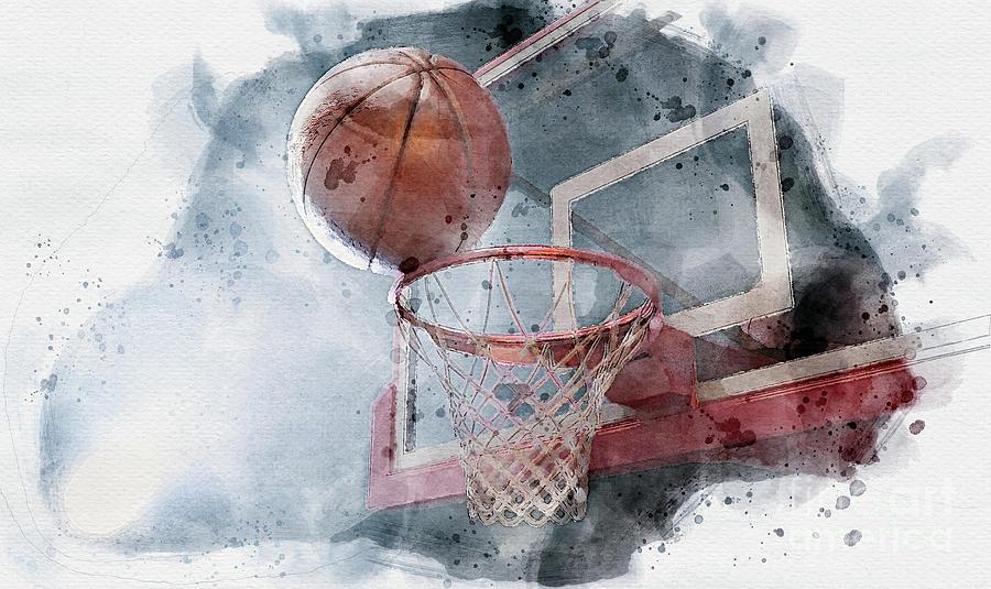 Basketball Balancing On Hoop Watercolor Digital Art