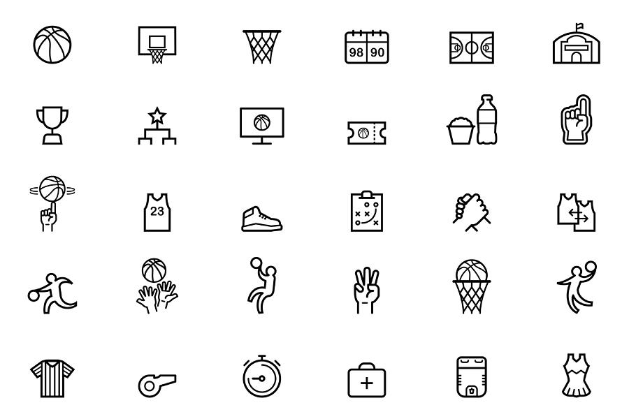 Basketball Icons Drawing by KrizzDaPaul